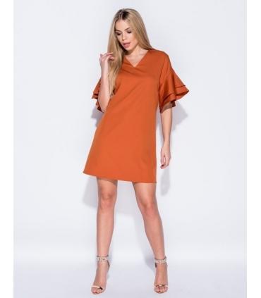 Rochie lejera portocalie cu volanase  - 1