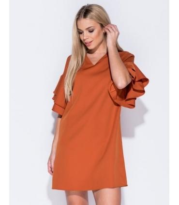 Rochie lejera portocalie cu volanase  - 5