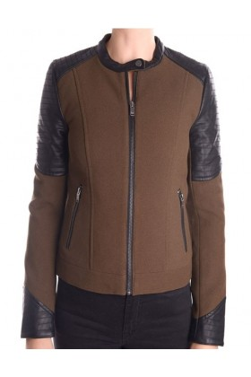 Jacketa maro cu negru stil biker  - 1