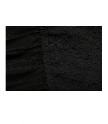 Rochie neagra in clos cu tul si dantela in partea de sus  - 4