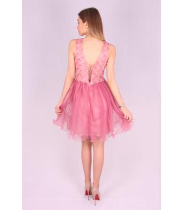 Rochie roz baby doll cu insertii de broderie si bust buretat  - 4