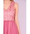 Rochie roz baby doll cu insertii de broderie si bust buretat  - 5