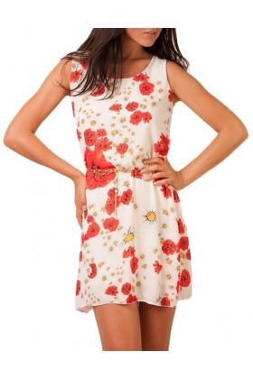 Rochie alba din voal cu imprimeu floral, lantisor auriu in talie  - 1