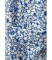 Rochie alba cu imprimeu floral albastru si cu nasturi in partea din fata  - 3