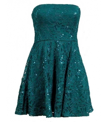 Rochie albastra cu broderie si paiete  - 1