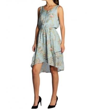 Rochie albastra din voal cu imprimeu floral, croiala asimetrica  - 2