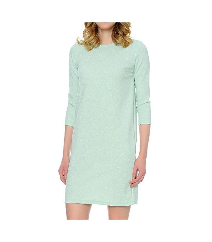 Rochie albastru pastelat, eleganta cu sclipici discret argintiu  - 1