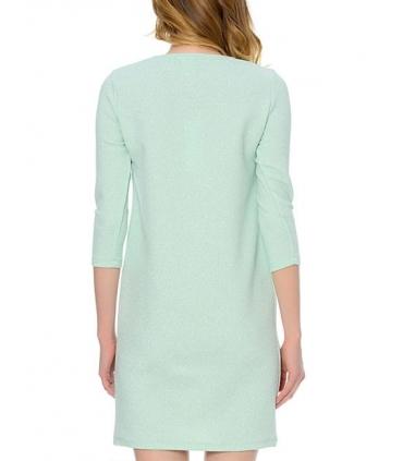 Rochie albastru pastelat, eleganta cu sclipici discret argintiu  - 3