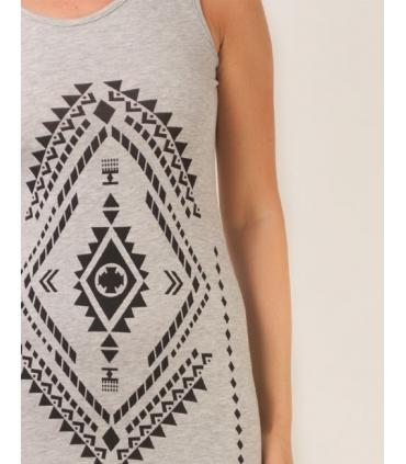 Rochie gri cu franjuri si imprimeu aztec  - 3