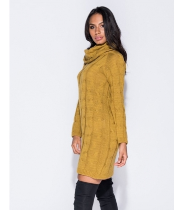 Rochie galben mustar tricotata cu maneci lungi si guler inalt  - 1