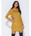 Rochie galben mustar tricotata cu maneci lungi si guler inalt  - 5
