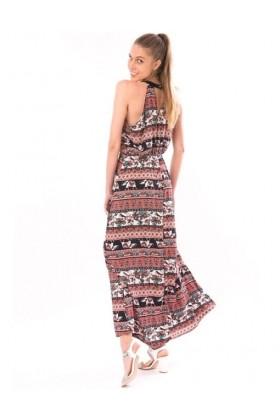 Rochie rosie lunga cu imprimeu floral si elefanti  - 1