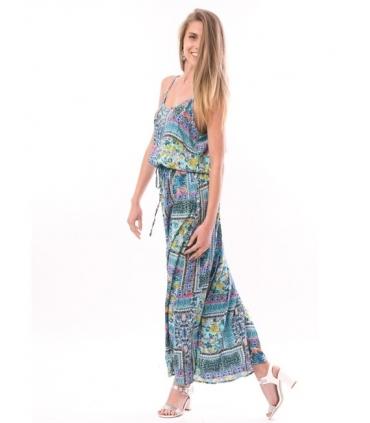 Rochie lunga vaporoasa turcoaz, imprimeu floral, decolteu rotund si cu bretele  - 2