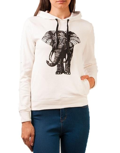 Hanorac alb cu imprimeu elefant
