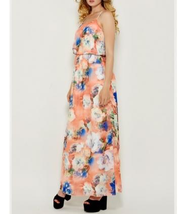 Rochie roz vaporoasa cu imprimeu floral si cu bretele  - 1