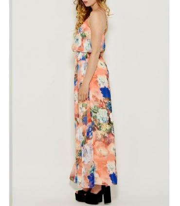 Rochie roz vaporoasa cu imprimeu floral si cu bretele  - 2