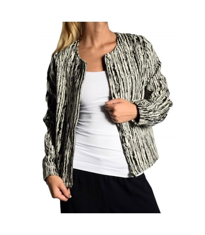 Jacheta texturata alb cu negru  - 1