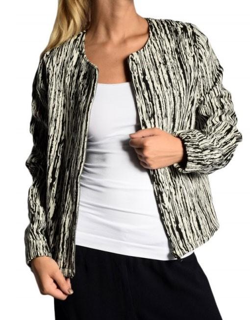 Jacheta texturata alb cu negru