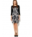 Rochie midi neagra office cu imprimeu floral abstract  - 1