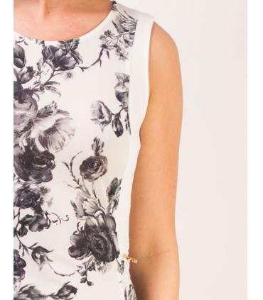 Maieu alb cu imprimeu floral stil vintage  - 3