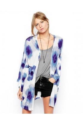 Kimono alb si imprimeu albastru  - 1