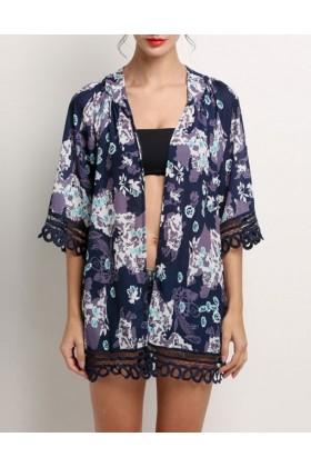 Kimono bleumarin cu imprimeu floral  - 1
