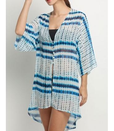 Kimono de plaja alb cu imprimeu albastru  - 1