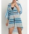 Kimono de plaja alb cu imprimeu albastru  - 2