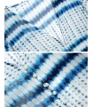 Kimono de plaja alb cu imprimeu albastru  - 7