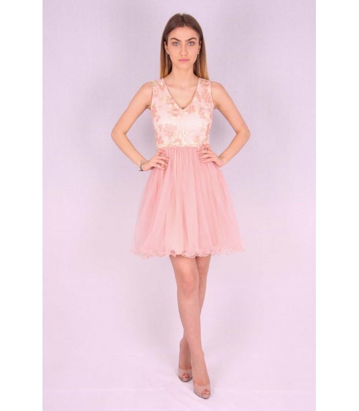 Rochie roz cu bust buretat si cu insertii florale  - 1