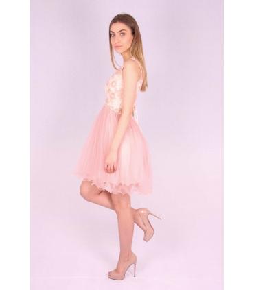 Rochie roz cu bust buretat si cu insertii florale  - 2