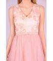Rochie roz cu bust buretat si cu insertii florale  - 4