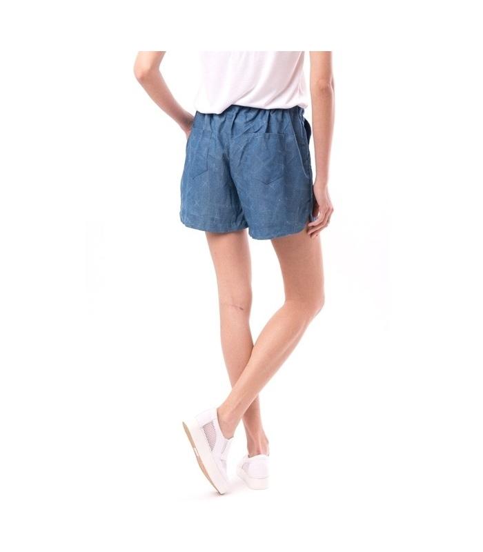 Pantaloni scurti albastri cu imprimeu si snur  - 1