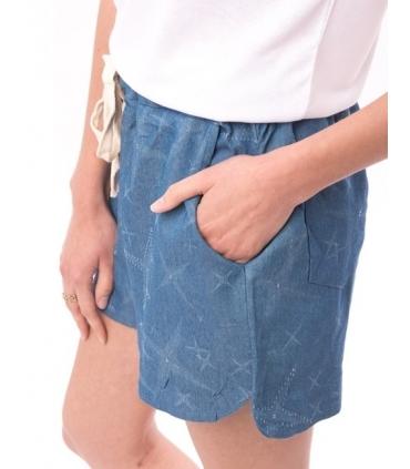 Pantaloni scurti albastri cu imprimeu si snur  - 2