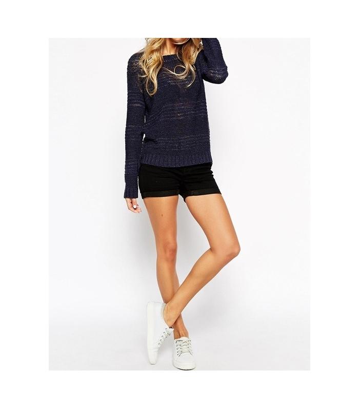 Pantaloni scurti negru elastici cu talie medie  - 1