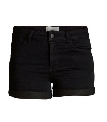 Pantaloni scurti negru elastici cu talie medie  - 2