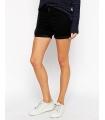 Pantaloni scurti negru elastici cu talie medie  - 4