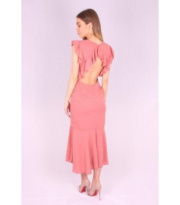 Rochie de seara cu spatele gol de culoare roz