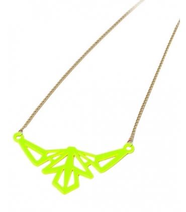 Colier lung cu pandantiv galben neon  - 4