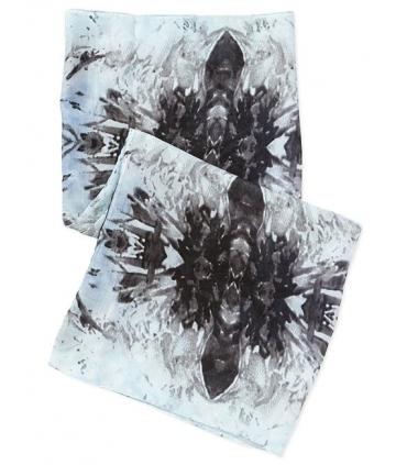 Esarfa tubulara albastra cu imprimeu  - 5