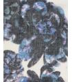 Esarfa alba cu imprimeu floral albastru  - 6