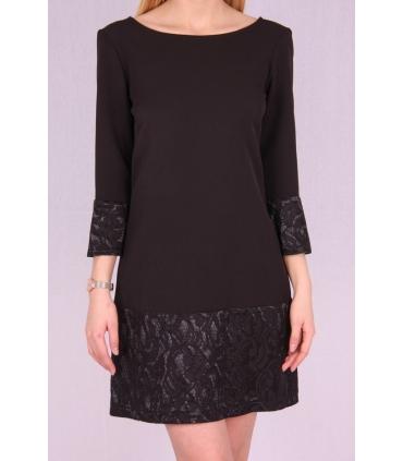 Rochie de seara neagra cu mansete brodate  - 2