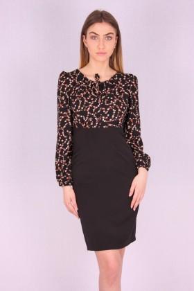 Rochie neagra cu model floral  - 1