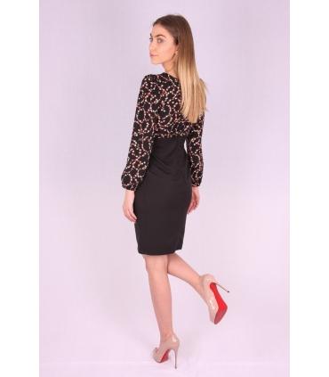 Rochie neagra cu model floral  - 3