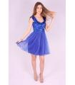 Rochie albastra baby doll cu paiete  - 2