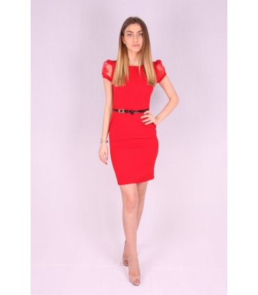 Rochie rosie cu curea neagra  - 1
