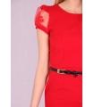 Rochie rosie cu curea neagra  - 2