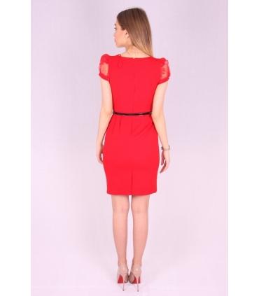 Rochie rosie cu curea neagra  - 3