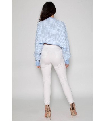 Pulover crop-top alb cu imprimeu albastru deschis  - 4
