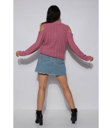 Pulover tricotat roz pudrat cu umerii goi  - 5